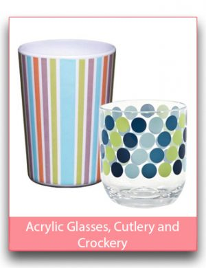 Acrylic, Bamboo and Tin Glasses, Cutlery and Crockery