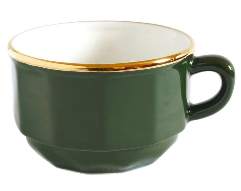 Green & Gold French Bistro Coffee Cups